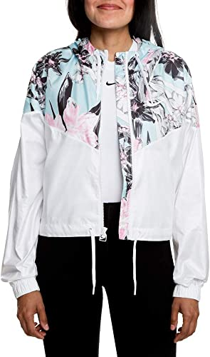 Nike W NSW Hyp FM JKT Crop WR AOP Veste Femme