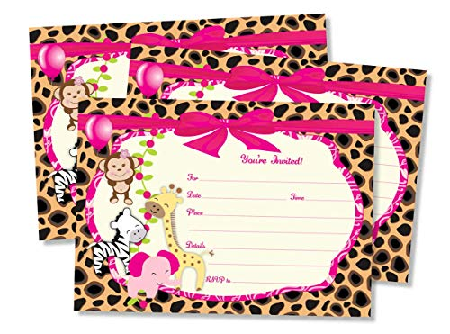 50 Girl Pink Jungle Invitations and Envelopes (Large Size 5x7) - Baby Shower - Birthday Party - Any Occasion