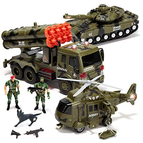 JOYIN 3 in 1 Friction Powered Siren Military Vehicle Toy with Action Figures, Including Military Truck, Helicopter and Tank Toy, Military Vehicles with Light and Sound Siren for Imaginative Play