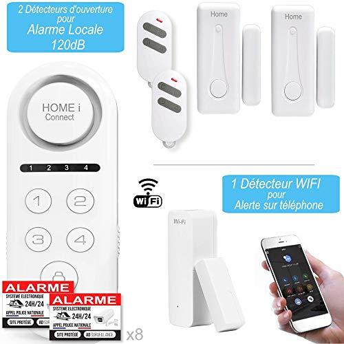 Home i Connect – 1 WLAN-Detektor mit Benachrichtigung auf dem Telefon und 2 Melder für Alarmanlage mit Sirene 120 dB – Hausalarm – Tür- und Fensteralarm