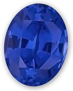 7x5mm Oval Gem Quality Chatham Lab-Grown Blue Sapphire Weighs .88-1.08 Ct, Medium Tone.
