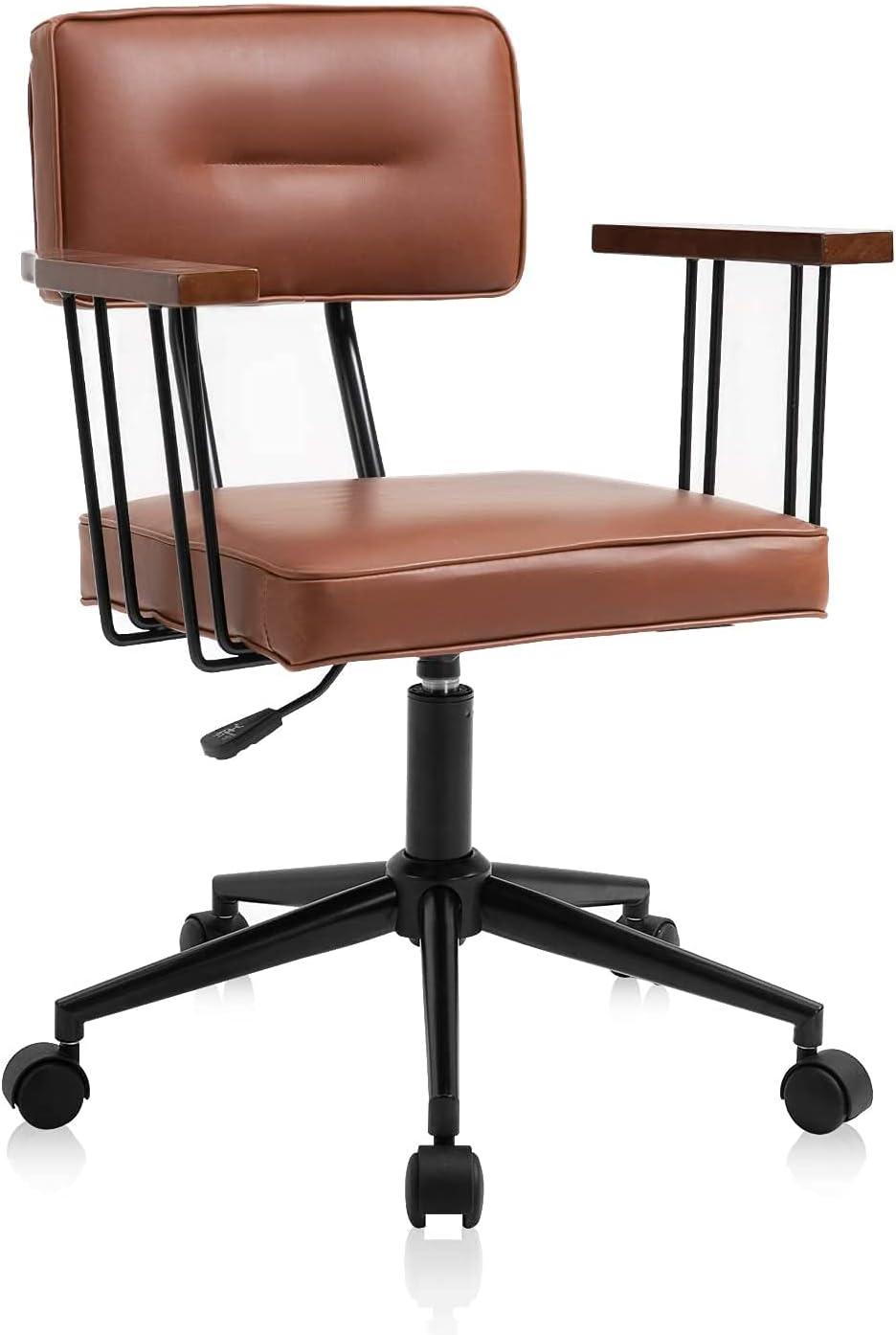 YAMASORO Bürostuhl Ergonomisch Retro Schreibtischstuhl Massivholz Armlehne Bürostuhl Leder Braun Höhenverstellbar Drehstuhl Mit Rollen Rückenlehne…