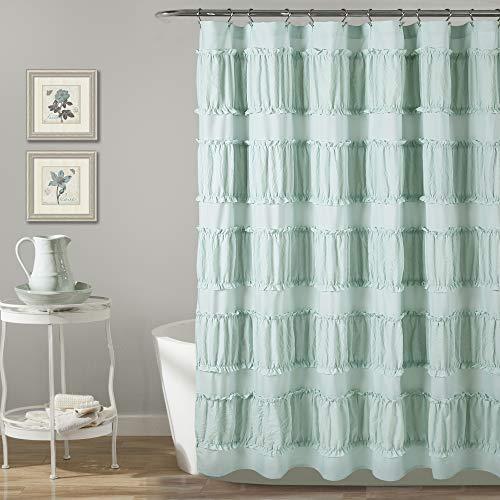 Lush Decor, Blue Nova Ruffle Shower Curtain, 72