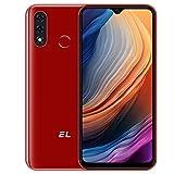 EL D60 Pro Smarthphone Libre, Android 10 4G Teléfono Móvil 3GB + 32GB (SD 128GB) Pantalla 6,1 Pulgadas, Batería 4000mAh, Cámara Triple 13MP Movil Libre Barato Dual SIM Face ID/Huella Dactilar- Rojo