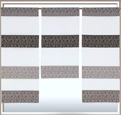 Design Mini Flächenvorhang Set anthrazit 2292 | mit Muster | 3 Teile | Scheibengardine Gesamtbreite 90cm (3x30cm) Höhe 80/60/80cm