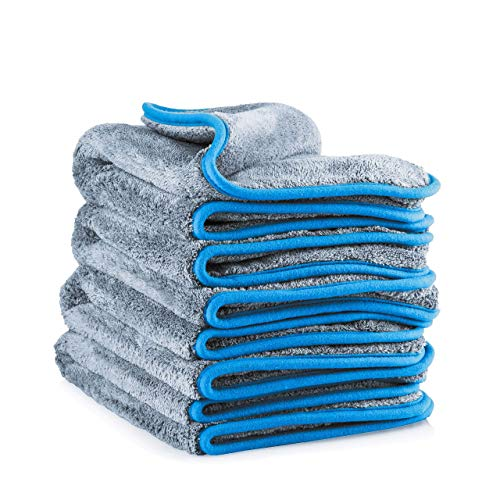Super Absorbent and Ultra-Thick Large Microfibre Drying Towel for Car Polishing Home Waxing Qhui Microfiber Cloth 1000 GSM 2 Packs Lint Free Microfibre Car Cleaning Cloths