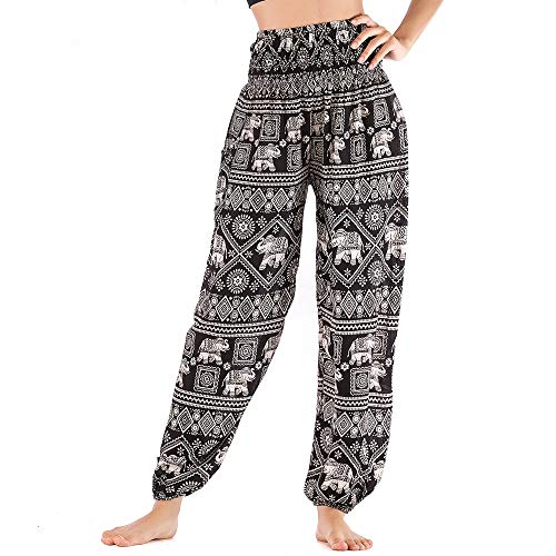 Nuofengkudu Mujer Hippie Algodón Tailandeses Pantalon Harem Cintura Alta Boho Vintage Patrones Indio Baggy Fisherman Yoga Pants Pijama Verano Playa(Negro Elefante,Talla única)
