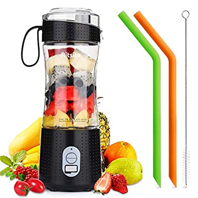 Aitsite Portable Blender, Personal Mixer Fruit Rechargeable USB with 2 Straws, Mini Blender for Smoothie, Fruit Juice, Milk Shakes 380ml, Six 3D Blades for Great Mixing (Black) from Aitsite