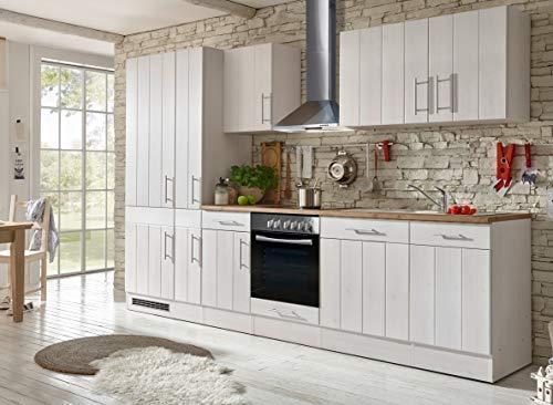 Respekta Cocina Cocina Pequeña Bloque de Cocina Cocina Cocina Amueblada y Equipada Cocina Totalmente Equipada 310 cm en Blanco