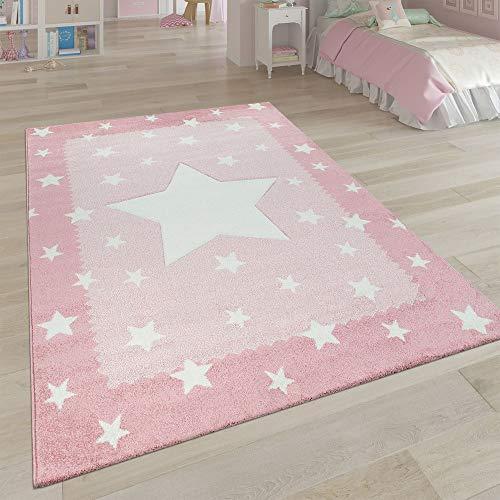 Paco Home Kinderteppich Kinderzimmer Rosa 3-D Sternen Design Bordüre Weich Robust Kurzflor, Grösse:140x200 cm