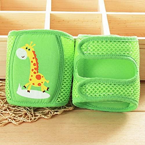 asx Rodilleras antideslizantes para bebé, protectores de seguridad para primavera, verano, calentadores de piernas, de malla, ajustables, para niños pequeños y niñas de 0 a 5 años, color verde jirafa