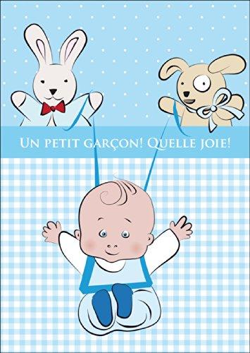 Schattige Franse babykaart, wenskaart voor de geboorte met blauwe Vichy Karo, baby en knuffeldieren: Un petit garçon. Bron joie! • Mooie welkom wenskaart, geboortekaart voor moeder en kind
