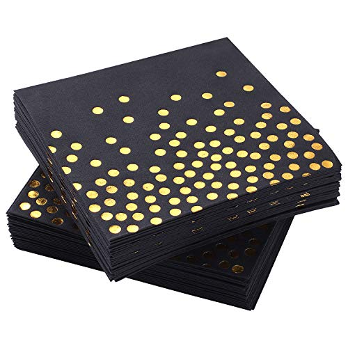MORGIANA Airlaid Servietten | Umweltfreundliche Einweg Papierservietten | Perfekt für Hochzeit, Restaurant, Party, Abendessen | 40 x 40 cm | 50 Stück | Schwarz mit Goldpunkt