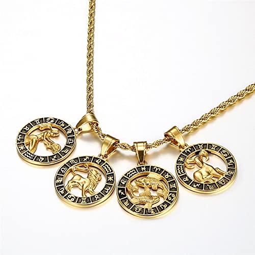 SONGK 12 Collares Pendientes del horóscopo del Signo del Zodiaco para Hombres Mujeres Oro Aries Leo 12 Constelaciones Dropshipping Collar joyería