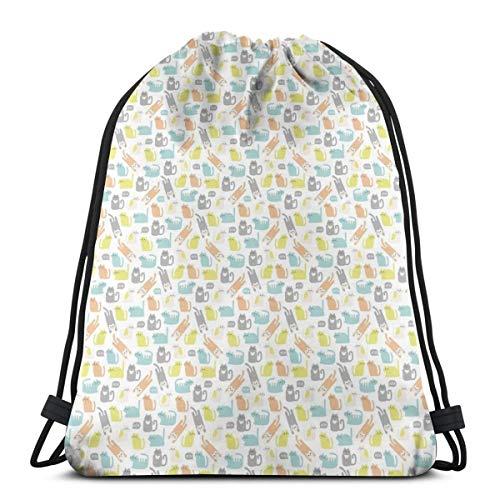 LLiopn Drawstring Sack Backpacks Bags,Kitty In Soft Toned Kids Nursery Love Cats Childish Happy Cartoon,Adjustable.,5 Liter Capacity,Adjustable.