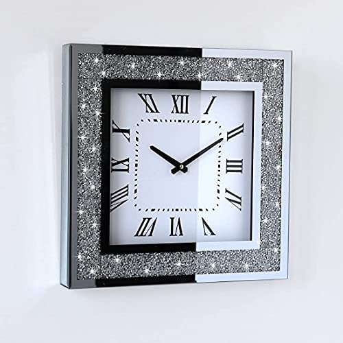 Gatsby Bling Glass Wall Clock Filled with Crushed Diamond Crystals to Sparkle Your Home/Office | Luxury Decor | Handmade | Ideal Gift