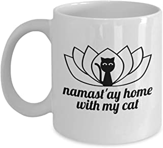 Namast'ay Home With My Cat Funny Yoga Cat Lover Cup Coffee Mug Gift
