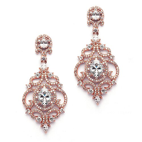 Mariell Victorian Scrolls 14k Rose Gold Plated Cubic Zirconia Wedding or Evening Chandelier Earrings
