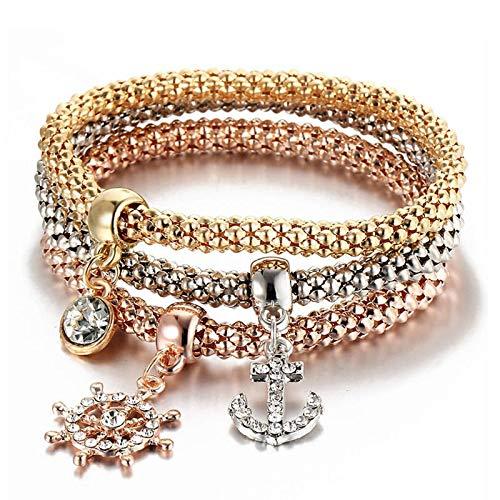 Jewellery Bracelets Bangle For Womens New 3 Pcs/Set Fashion Gold-Color Crystal Skull Bracelet & Bangle Charm Luxury Love Anchors Heart Women Bracelet 81006