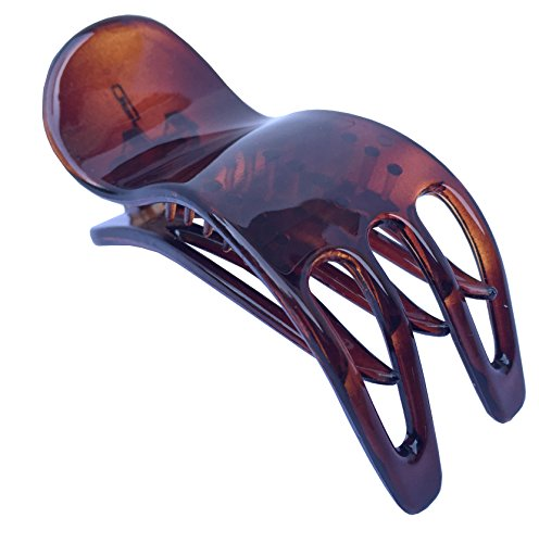 Parcelona French Simply Bear Paw Tortoise Shell Celluloid Medium Side Slide In Jaw Yoga Hair Claw Clip for Fine Hair