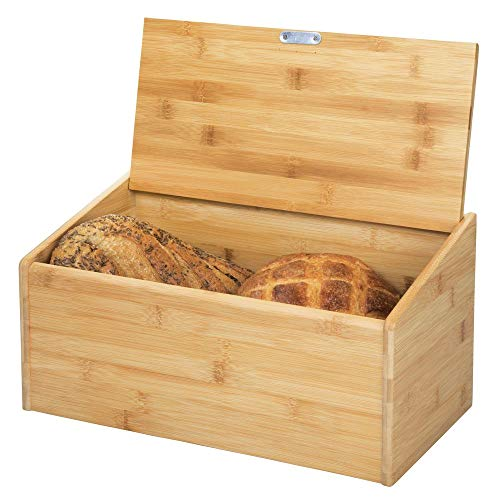 mDesign Brotkasten aus Holz – Brotbox mit Deckel zum luftdichten Verschließen – für eine umweltfreundliche und stilvolle Brotaufbewahrung – naturfarben