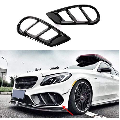 MCARCAR KIT ABS Fog Lamp Grill Cover fits Mercedes Benz C Class W205 C205 A205 Sport C43 AMG 2015-2018 C200 C300 C350 C400 Gloss Black Front Bumper Light Grille Air Vent Trims