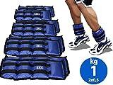 Lupex Shop Coppia di Pesi per Caviglie e Polsi da 0,5 a 6kg, Sacchetto di Sabbia, Regolabili con Strappo in Velcro, per Allenamento Palestra, Running, Fitness (1.5)