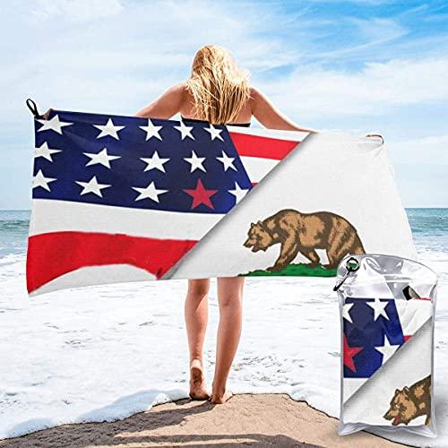 Toalla Piscina Seca Toalla de Playa de Secado rápido Bandera Estadounidense y Bandera del Estado de California Piscina Deportiva de Microfibra Toallas Finas y Ligeras para Mujeres y Hombres