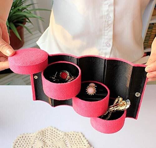 XXSW Caja de exhibición de reloj ataúd caja de joyería organizador de franela redonda portátil para almacenamiento de joyas de lujo
