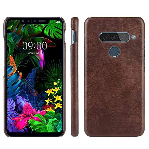 HualuBro Handyhülle für LG G8S ThinQ Hülle, Retro PU Leder Ultra Slim Stoßfest Schutzhülle Lederhülle Back Bumper Hülle Cover für LG G8S ThinQ Tasche (Braun)