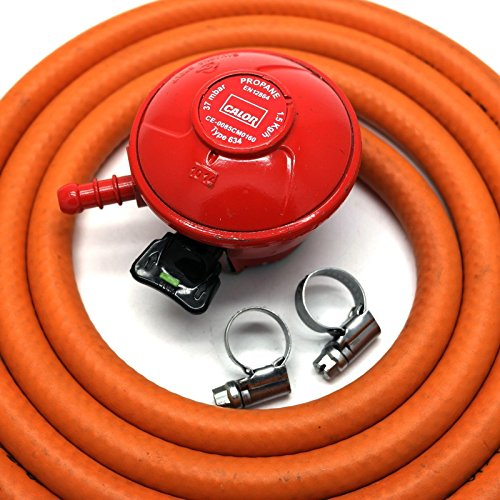 CALOR GAS Brand 27Mm Clip on Pato Gas Regulator 2Mt Hose/Pipe & 2 Clips 5 Year Warranty