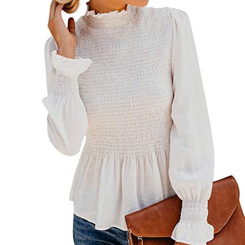 VJGOAL Mujer Moda Casual de otoño e Invierno Color sólido Manga Larga Retro Elegante Cuello Alto con Volantes Dulces Camiseta Acanalada Blusa de Manga Flare(Large,Blanco)