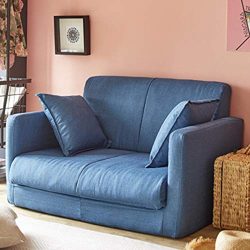 生活雑貨ソファーベッドソファー脚を伸ばしてゆったり寝れる3つ折りコンパクト2Pネイビー