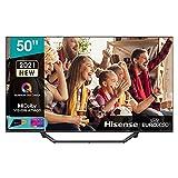 """Hisense 50"""" QLED 4K 2021 50A78GQ, Quantum Dot, Smart TV VIDAA 5.0, HDR Dolby Vision, Audio Dolby Atmos, Controlli vocali Alexa / Google Assistant, Tuner DVB-T2/S2 HEVC 10, lativù 4K"""