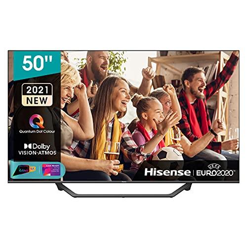 Hisense 50  QLED 4K 2021 50A78GQ, Quantum Dot, Smart TV VIDAA 5.0, HDR Dolby Vision, Audio Dolby Atmos, Controlli vocali Alexa Google Assistant, Tuner DVB-T2 S2 HEVC 10, lativù 4K