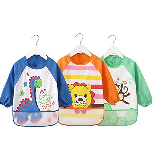 Oral-Q Unisex - Kinder Childs Kunst - Handwerk gemälde schürze Baby wasserdicht lätzchen mit ärmeln & Tasche, 6-36 Monate, einen gelben Panda