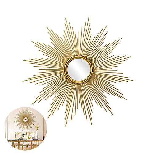 Round Wall Mirror, 3D Stereo Large Metal Decorative Sunburst Shape Wall Mirror, Living Room, Hallway Porch Starburst Shaped Hanging Mirror,Gold,80cm