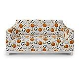 ABAKUHAUS Sport Sofabezug Sofaüberwurf, Fußball und Basketball, Elastischer Strechbarer Couch Schonbezug, 2 Sitzer, Orange Schwarz Creme