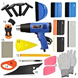 Syneticusa SUV/Truck/Car Car Vinyl Wrap Tool Window Tint 21pcs Kit for Auto Film Tinting Set Application Installation or Removal with Heat Gun