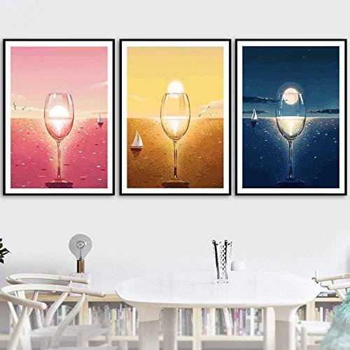 JRLDMD Poster de Copa de Vino, Arte de Pared de Paisaje, Lienzo nórdico, Poster e Impresiones, Cuadros de Pared para Decoracion de Salon de Estar, 40x60cmx3 sin Marco