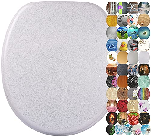 Sanilo Round Toilet Seat, Wide Choice of Slow Close Toilet Seats, Molded Wood, Strong Hinges (Glittering White)