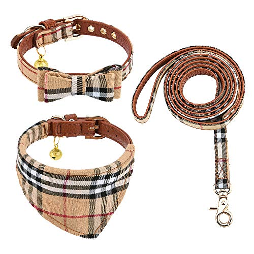 Dog Collar with Leash Set, 3-Piece Bandana Collars with Bell, Classic Lattice Design, Adjustable Length for Small Dogs and Cats (XXS, Brown)