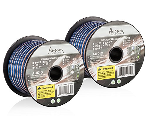 Aurum Cables 16 Gauge Transparent PVC Speaker Wire w/ft Markings Every 5 ft - 50 feet - 2 Pack