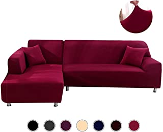 ANGELLOONG Sectional Couch Covers L Shaped Sofa Cover, Slipcover for Sectional Couch Stretch Elastic Polyester Fabric 3 Seats +3 Seats (Burgundy)