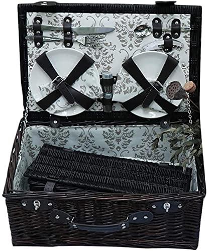 Cesta de pícnic 2 set de picnic portátil de lujo cesta de picnic al aire libre quemando bebé cesta cubierta (marrón negro, tamaño: 463020cm)