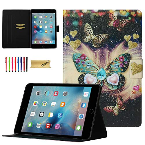 iPad Mini Case, Dteck Lightweight Slim Shell PU Leather Folio Stand Magnetic Wallet Case with Auto Wake/Sleep Smart Cover for Apple iPad Mini 1/Mini 2/Mini 3/Mini 4/Mini 5, Jewelry Butterfly