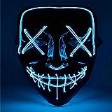 TK Gruppe Timo Klingler LED Grusel Maske blau - wie aus Purge mit 3X Lichteffekten, steuerbar, für Halloween, Fasching & Karneval als Kostüm für Herren & Damen (blau)