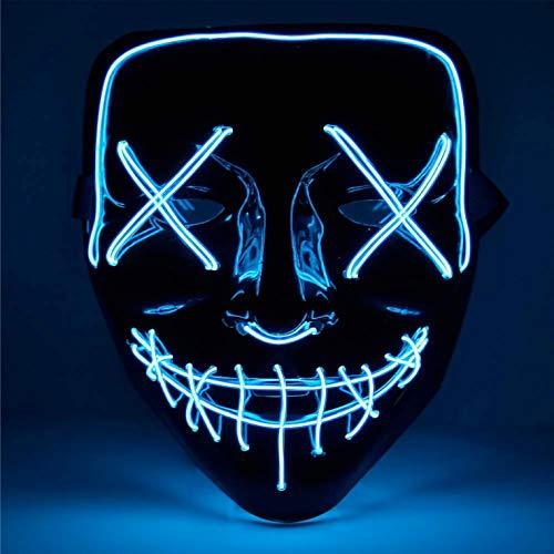 TK Gruppe Timo Klingler LED Grusel Maske blau - wie aus Purge inkl. 3X Lichteffekten, steuerbar, für Halloween, Fasching & Karneval als Kostüm für Herren & Damen (blau)