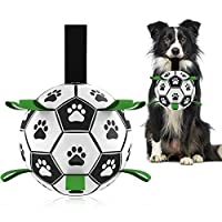🐶UNIQUE DURABLE DOG TOY: Dog football toy with nylon tabs sewn evenly into the seams not only create an erratic bounce that dogs love to chase, but also make it easier for the dogs to fetch, toss, tug and retrieve. There's a longer strap for people t...