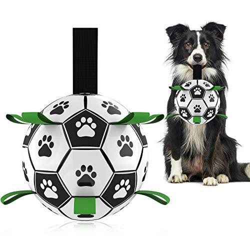 Hetoo Interaktives Hundespielzeug, Fußball-Spielzeug mit Greiflaschen, langlebige Hundebälle für kleine und mittelgroße Rassen, Wasserspielzeug für drinnen und draußen